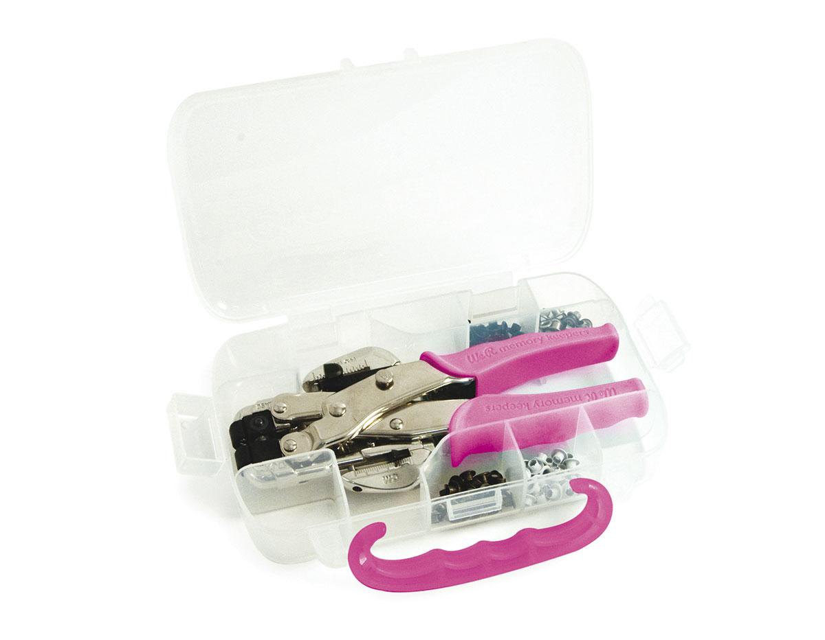 70908-4 Set remachadora CROP-A-DILE rosa con estuche y 100 ojales We R Memory Keepers