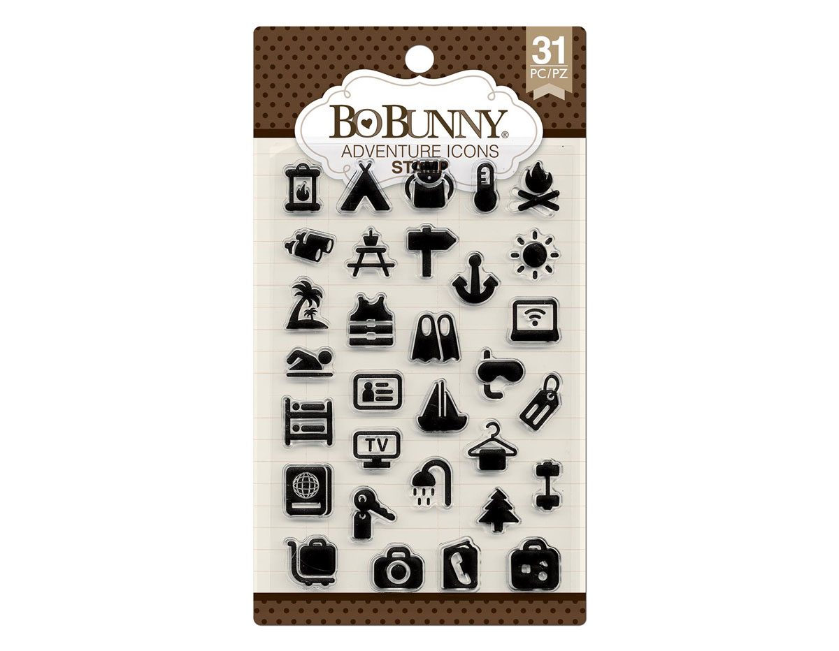 7310251 Set sellos acrilicos iconos aventura 11x19cm BoBunny