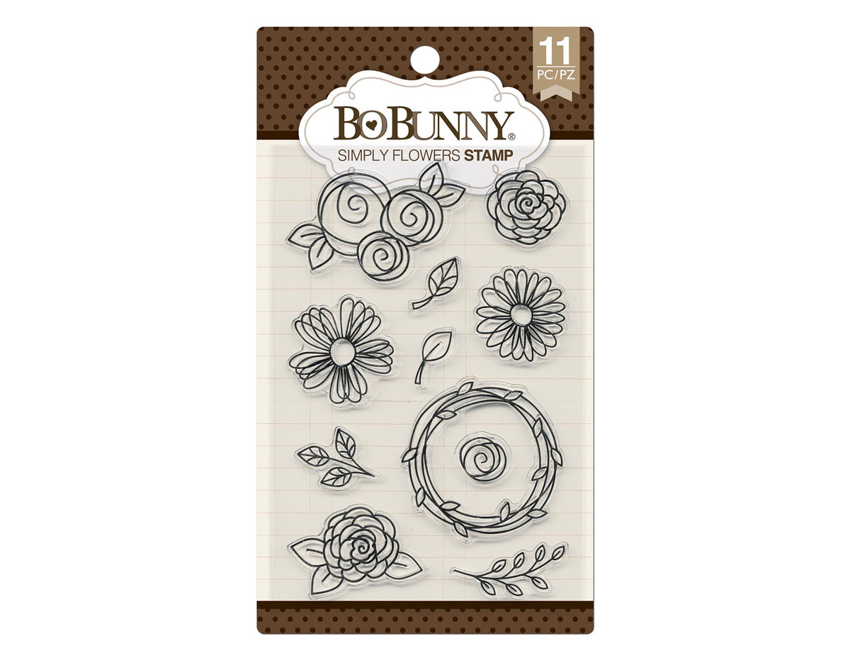 7310258 Set sellos acrilicos simplemente flores 11x19cm BoBunny