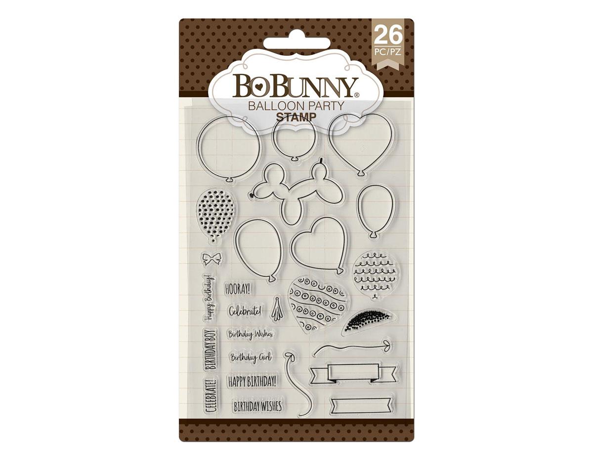7310498 Set sellos acrilicos fiesta con globos 11x19cm BoBunny