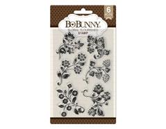 7310528 Set sellos acrilicos florituras florales 11x19cm BoBunny