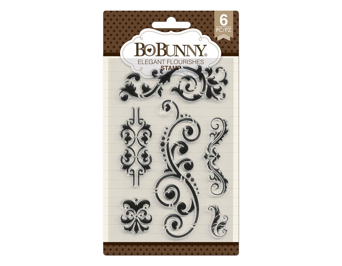 7310534 Set sellos acrilicos florituras elegantes 11x19cm BoBunny