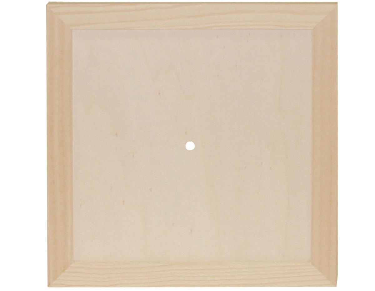7615 Reloj madera de pino macizo cuadrado con vidrio Innspiro