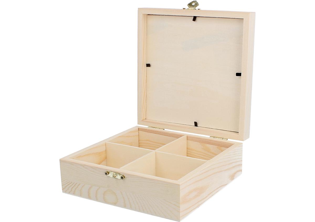 Caja Madera Para Infusiones Pino Macizo Con Vidrio Y Separadores  ~ Cajas De Madera Con Tapa De Cristal