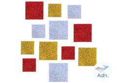 98602 Cuadrados precortados de goma eva adhesiva con purpurina Innspiro