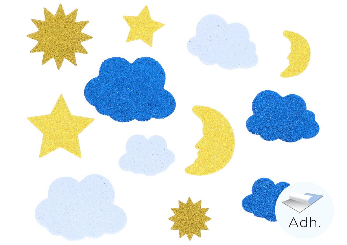 Plantillas Estrellas Para Decorar.Soles Lunas Estrellas Y Nubes De Goma Eva Adhesiva Con Purpurina 30u