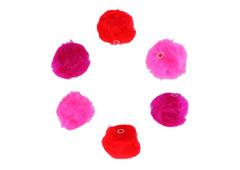 99302 Pompones acrilicos con tubo 3 tonos rojo Innspiro
