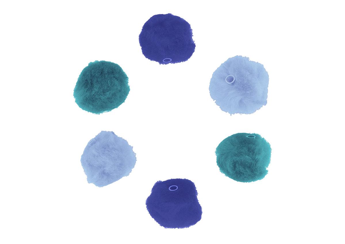 99303 Pompones acrilicos con tubo 3 tonos azul Innspiro