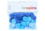 99303 Pompones acrilicos con tubo 3 tonos azul Innspiro - Ítem1
