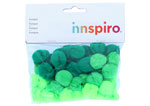 99304 Pompones acrilicos con tubo 3 tonos verde Innspiro - Ítem1