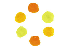 99305 Pompones acrilicos con tubo 3 tonos amarillo Innspiro
