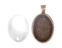 99437-AG Colgante camafeo metalico ovalo dorado envejecido con cabuchon vidrio Innspiro