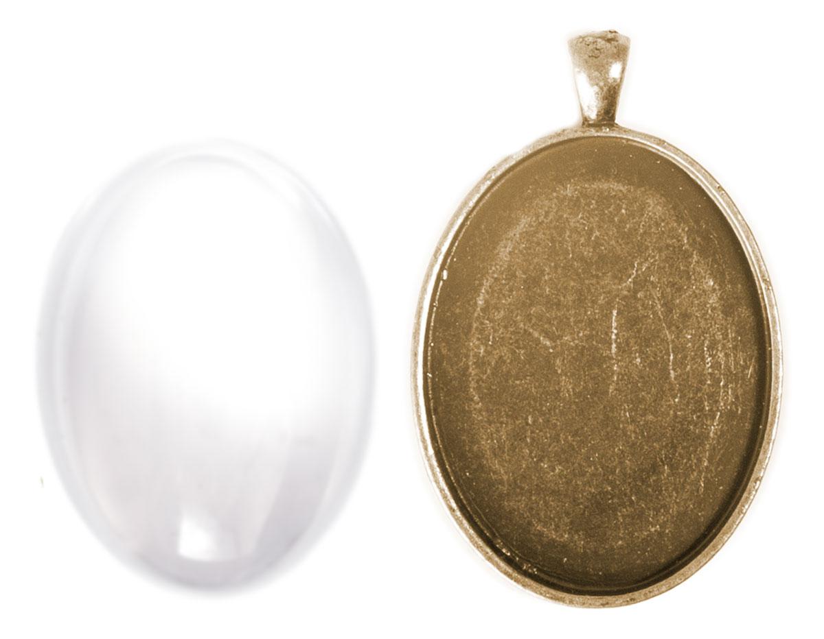99443-AG Colgante camafeo metalico ovalo dorado envejecido con cabuchon vidrio Innspiro