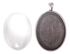 99443-AS Colgante camafeo metalico ovalo plateado envejecido con cabuchon vidrio Innspiro