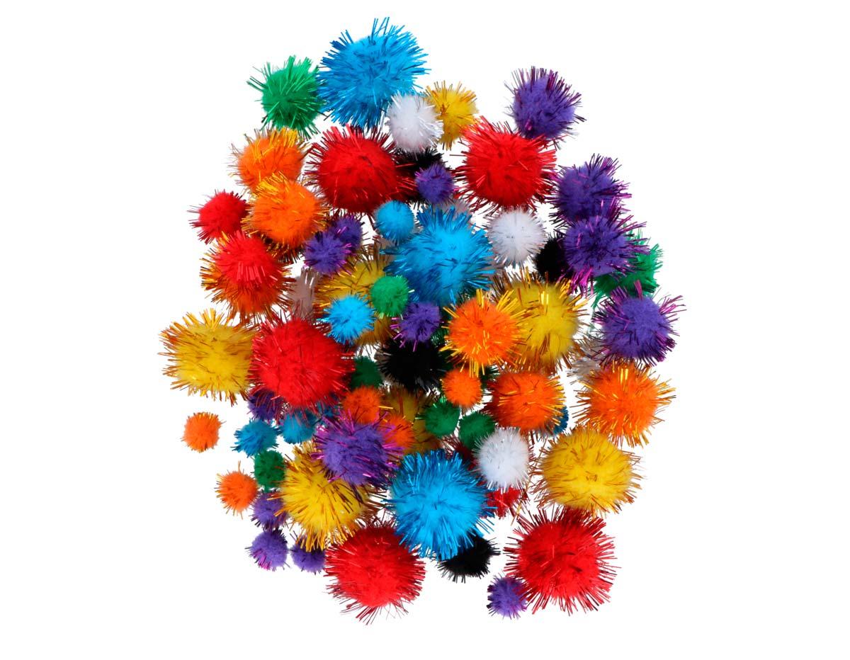99450 Pompones brillantes mix medidas y colores Innspiro