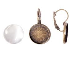 99461C-AG Pendientes camafeo metalico redondo dorado envejecido con cabuchon vidrio Innspiro
