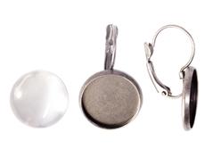 99461C-AS Pendientes camafeo metalico redondo plateado envejecido con cabuchon vidrio Innspiro