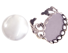 99482-AS Anillo camafeo metalico y ajustable redondo filigrana plateado envejecido con cabuchon vidrio Innspiro