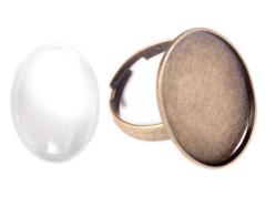 99489C-AG Anillo camafeo metalico y ajustable ovalo dorado envejecido con cabuchon vidrio Innspiro