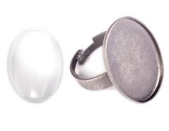 99489C-AS Anillo camafeo metalico y ajustable ovalo plateado envejecido con cabuchon vidrio Innspiro