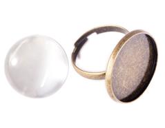99494C-AG Anillo camafeo metalico y ajustable redondo dorado envejecido con cabuchon vidrio Innspiro