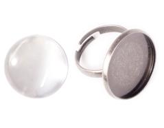 99494C-AS Anillo camafeo metalico y ajustable redondo plateado envejecido con cabuchon vidrio Innspiro