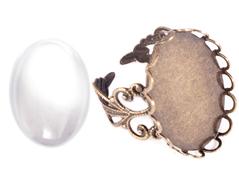 99497-AG Anillo camafeo metalico y ajustable ovalo filigrana dorado envejecido con cabuchon vidrio Innspiro
