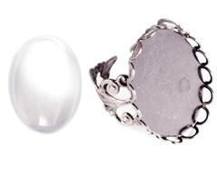 99497-AS Anillo camafeo metalico y ajustable ovalo filigrana plateado envejecido con cabuchon vidrio Innspiro