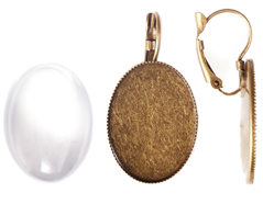 99506-AG Pendientes camafeo metalico ovalo dorado envejecido con cabuchon vidrio Innspiro
