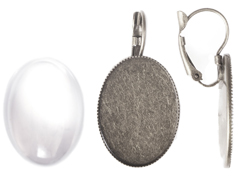 99506-AS Pendientes camafeo metalico ovalo plateado envejecido con cabuchon vidrio Innspiro