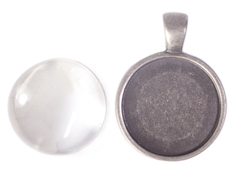 99511-AS Colgante camafeo metalico redondo plateado envejecido con cabuchon vidrio Innspiro