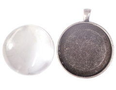 99520-AS Colgante camafeo metalico redondo plateado envejecido con cabuchon vidrio Innspiro