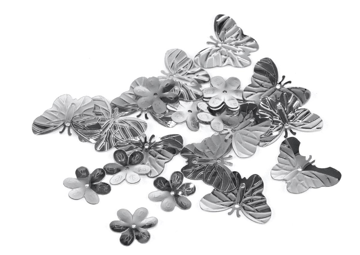 99701 Lentejuelas mariposas y flores plateadas Innspiro