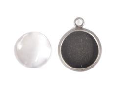 99837A-AS 99837B-AS 99837C-AS 99837D-AS Colgante camafeo metalico redondo plateado envejecido con cabuchon vidrio Innspiro