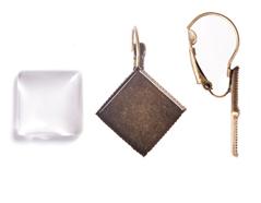 99840-AG Pendientes camafeo metalico rombo dorado envejecido con cabuchon vidrio Innspiro
