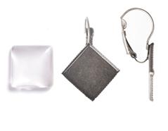99840-AS Pendientes camafeo metalico rombo plateado envejecido con cabuchon vidrio Innspiro