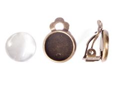 99841-AG Pendientes camafeo metalico disco dorado envejecido con cabuchon vidrio Innspiro