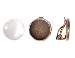 99842-AG Pendientes camafeo metalico disco dorado envejecido con cabuchon vidrio Innspiro