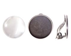 99843-AS Pendientes camafeo metalico disco plateado envejecido con cabuchon vidrio Innspiro