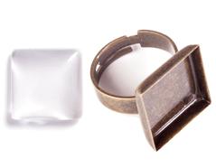 99844-AG Anillo camafeo metalico y ajustable cuadrado dorado envejecido con cabuchon vidrio Innspiro