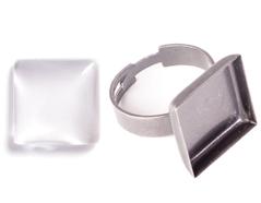 99844-AS Anillo camafeo metalico y ajustable cuadrado plateado envejecido con cabuchon vidrio Innspiro