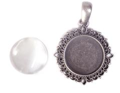 99845-AS Colgante camafeo metalico redondo plateado envejecido con cabuchon vidrio Innspiro