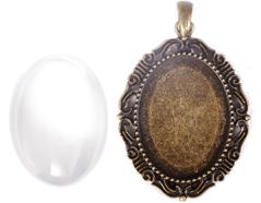99847-AG Colgante camafeo metalico ovalo dorado envejecido con cabuchon vidrio Innspiro