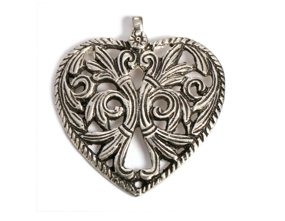 A150016 Z150016 Colgante metalico aluminio corazon plateado Innspiro