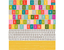 AMI-4660 MON AMI - 12X12 ALPHABET STICKERS Basic Grey
