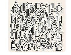 AUR-4744 Pegatinas alfabeto de carton AURORA Basic Grey