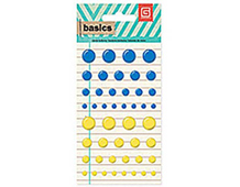 BAS-4206 BASICS - CANDY BUTTONS - BLUE YELLOW Basic Grey