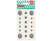 BAS-4220 BASICS - METAL STUDS - SILVER CIRCLES Basic Grey