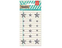 BAS-4221 BASICS - METAL STUDS - SILVER STARS Basic Grey