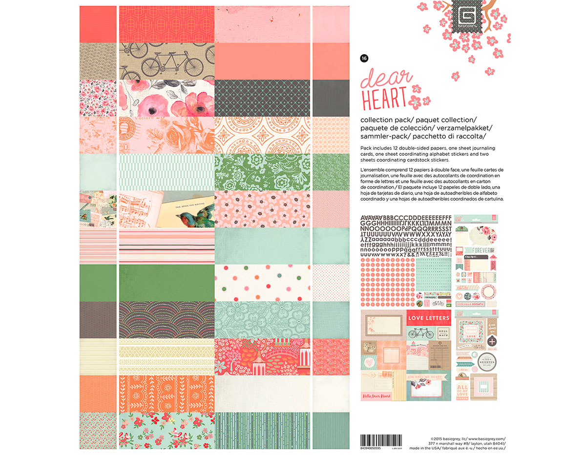 C-DHT-5059 Set 12 papeles 3 hojas adhesivas y 1 hoja tarjetas Collection Pack DEAR HEART Basic Grey